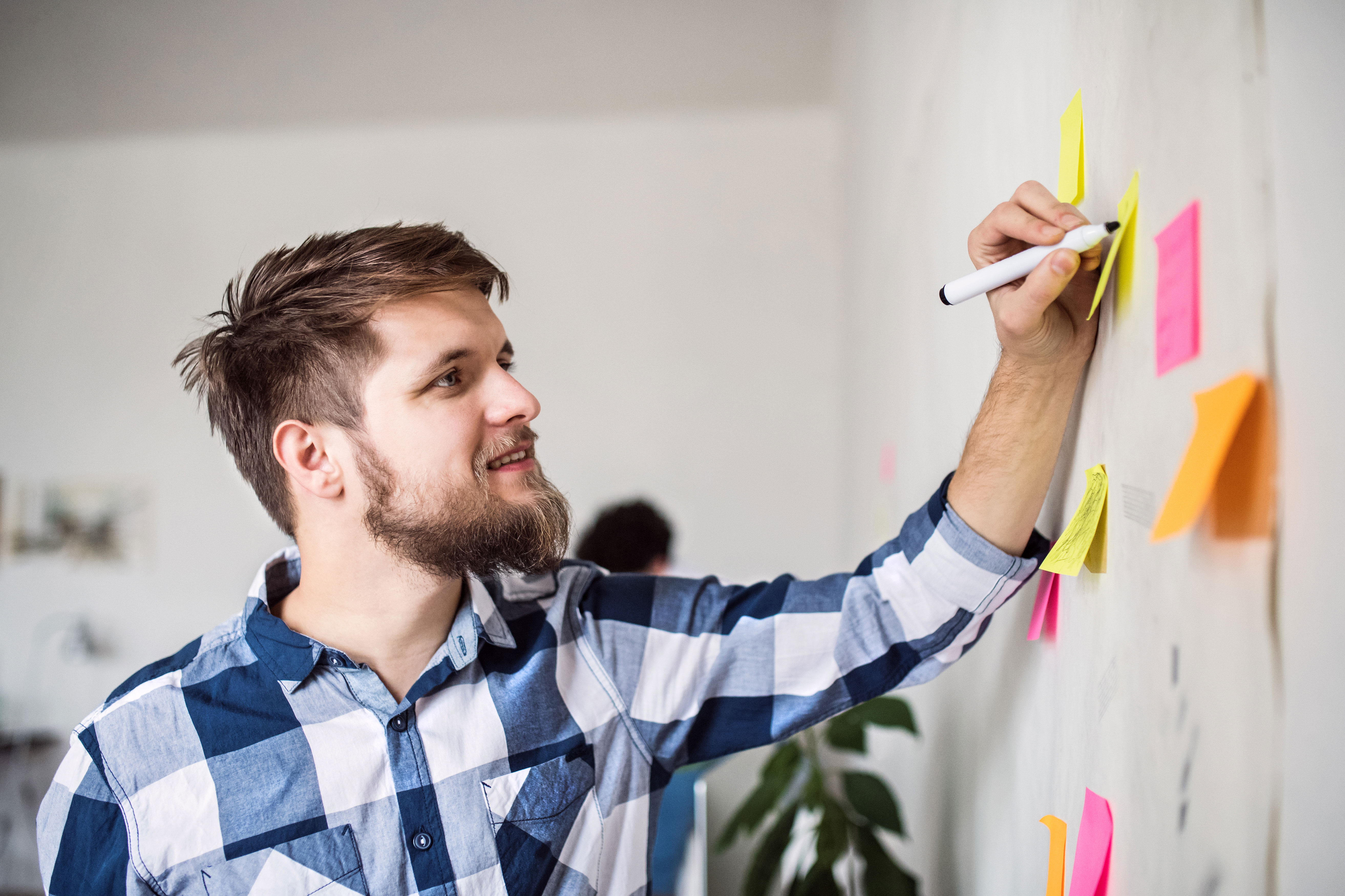 Photo of Man with Sticky Notes